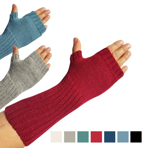 Alpaka Fingerlose Handstulpen glatt mit Daumenloch | Albwolle
