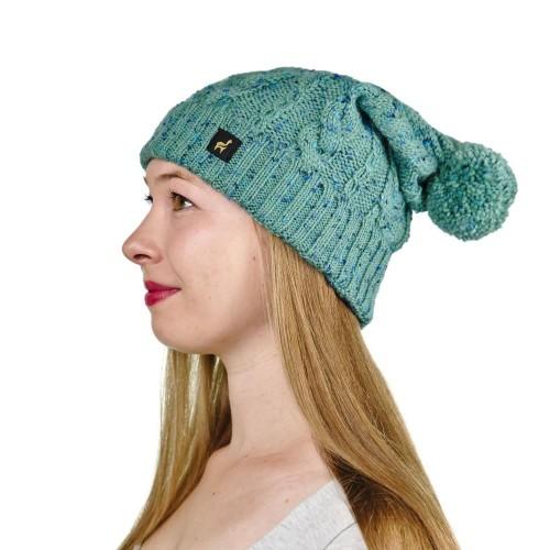 Alpaka Mütze Marie für Damen mit Bommel und Rippmuster, One Size, Graugrün-meliert