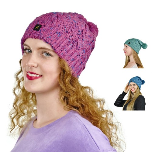 Alpaka Mütze Marie für Damen mit Bommel & Rippmuster | AlpacaOne