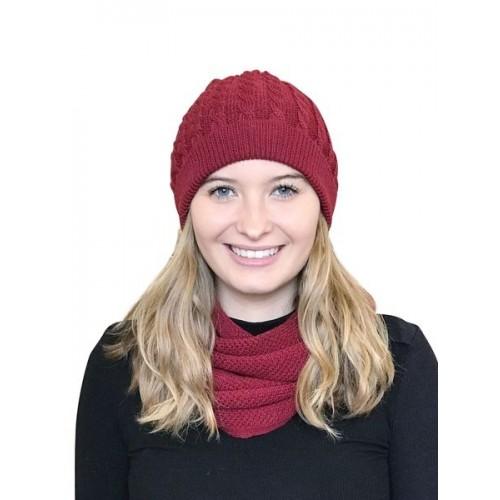 Albwolle Alpaka Set Loopschal & Zopfmütze für Damen, rot