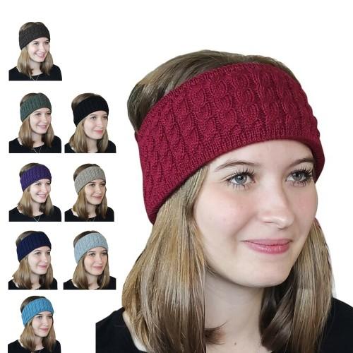 Albwolle Alpaka Stirnband Zopfmuster, viele Farben