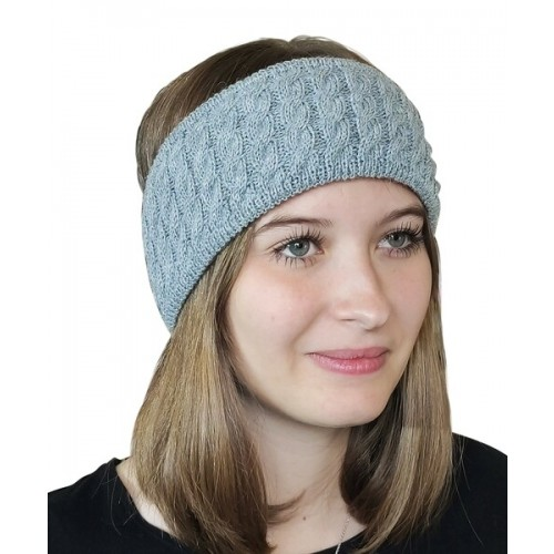 Albwolle Alpaka Stirnband Zopfmuster, grau