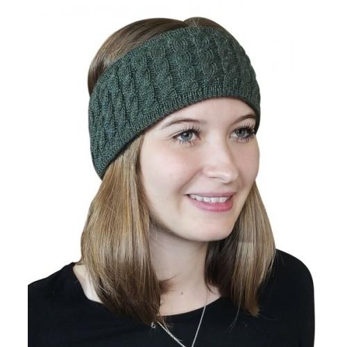 Albwolle Alpaka Stirnband Zopfmuster, grün