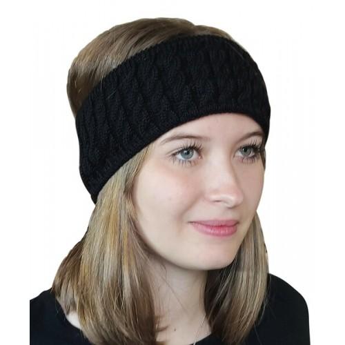 Albwolle Alpaka Stirnband Zopfmuster, schwarz