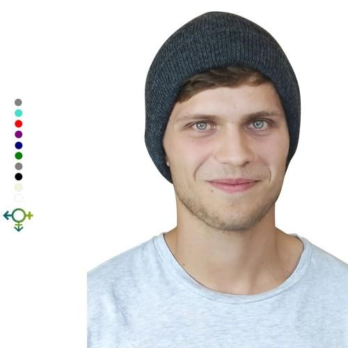 Alpaka Beanie Klassik, Unisex Wollmütze, anthrazit | Albwolle