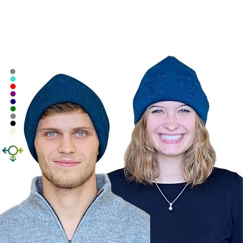 Alpaka Beanie Klassik, Unisex Wollmütze, blaumeliert | Albwolle