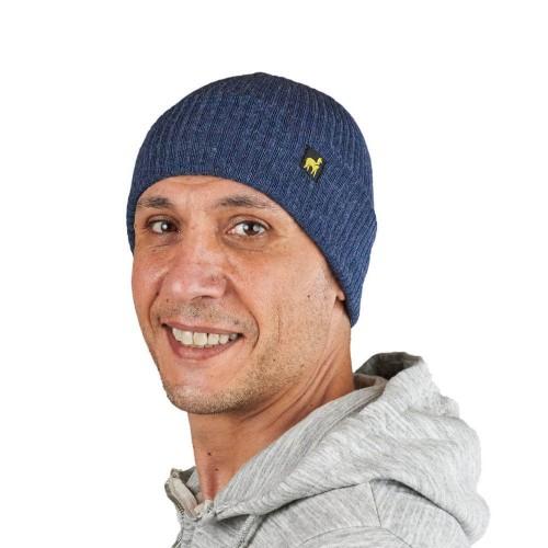 Alpaka Mütze Ripp Feinstrick Fischermütze Jeansblau | AlpacaOne