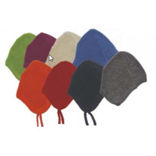 Baby Mütze mit Bändchen Uni aus Bio-Wolle
