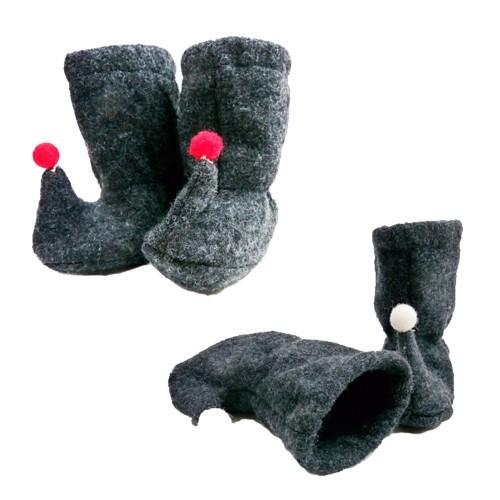 Ulalü Baby Tragestiefel mit Bommel aus Bio Wolle