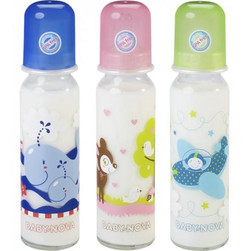 Baby Glas-Trinkflasche mit süßem Motiv 240 ml | BABY NOVA