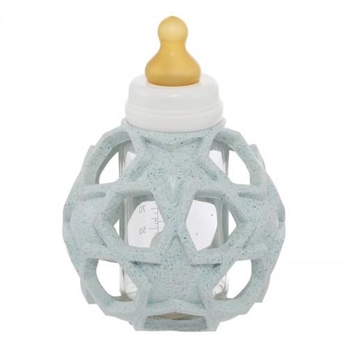 Hevea 2in1 Baby Glasflasche & Star Ball Naturkautschuk Blau