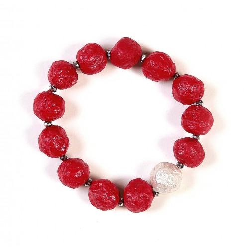 Öko Armband Rot mit Silber-Perle | Sundara Paper Art