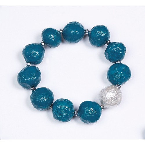 Fairtrade Armband Türkis mit Silber-Perle | Sundara Paper Art