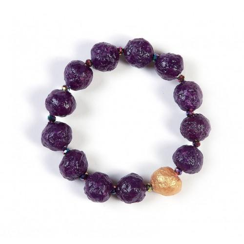 Öko Armband Violett mit Gold-Perle | Sundara Paper Art