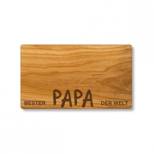 Frühstücksbrett mit Gravur Bester Papa der Welt | Echtholz