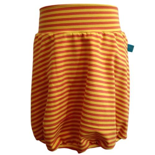 Gelb-orange gestreifter Mädchen Ballonrock aus Bio-Jersey