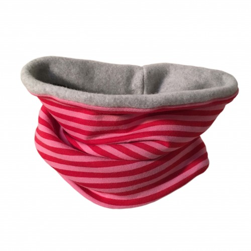 Winter Eco Cotton Loop Rosa/Pink geringelt | bingabonga