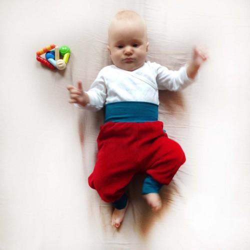 Baby Bio-Nicki Gemütlichkeitshose Rot/Petrol | bingabonga