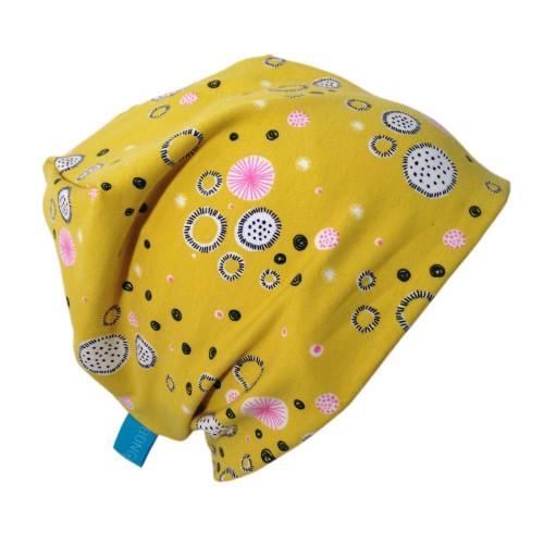 Gelbe Bio Mütze Line Muster Abstrakte Blüten | bingabonga