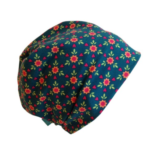 Blaue Bio Mütze Line Muster Blumen mit Herzen | bingabonga