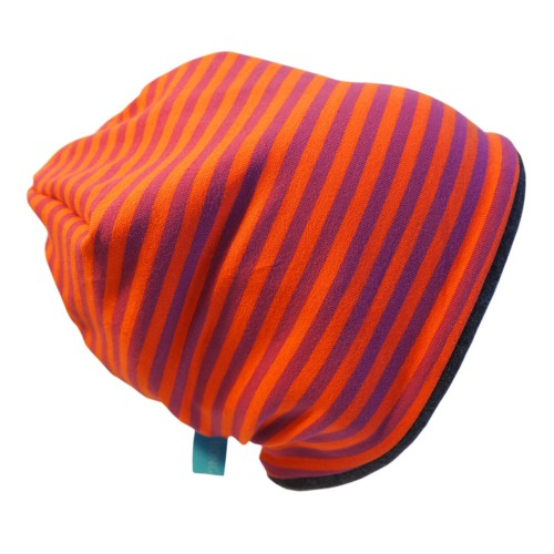 "Winter Beanie ""Line"" Lila/Orange geringelt 