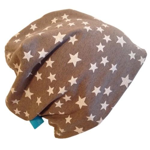 Braune Bio-Baumwoll-Mütze Line Sterne taupe | bingabonga