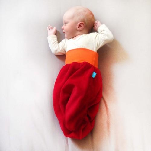 Bingabonga Strampelsack aus Bio-Nicki Rot/Orange