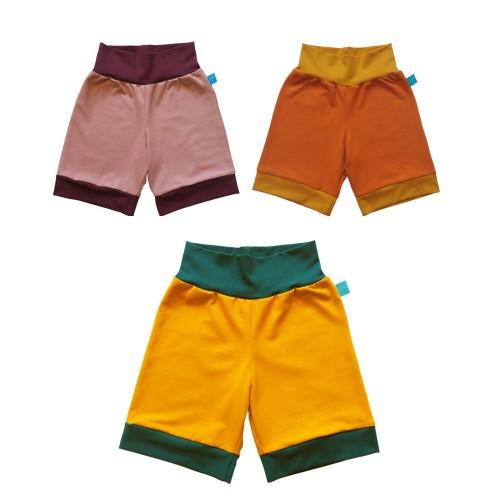 Farbenfrohe Bio Jersey Shorts mit Kontrastbündchen | bingabonga