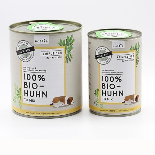 100% BIO-HUHN Hunde-Reinfleischdosen, Barf von naftie