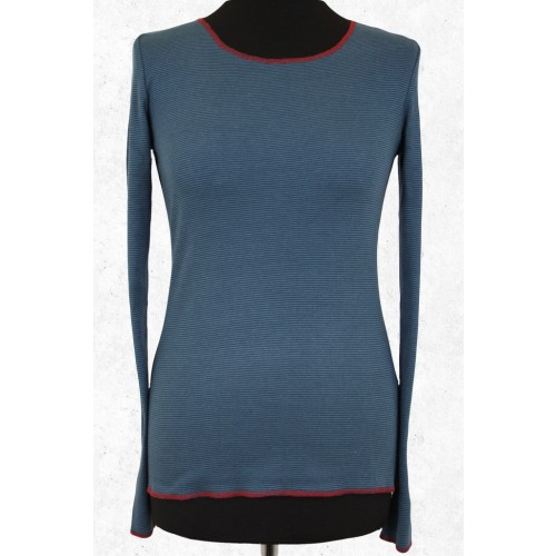 Bio Damen Langarmshirt blau-petrol fein gestreift | Jalfe