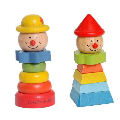 EverEarth Clown mit Hut – Stapelspielzeug aus FSC® Holz