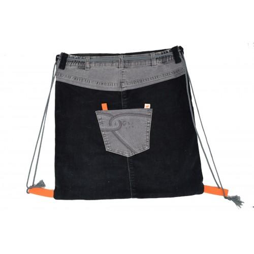 Handgemachter Turnbeutel Black Grey aus Jeans und Kord