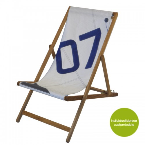 Upcycling Deckchair Transatlantic 07 weiß-blau | Marron