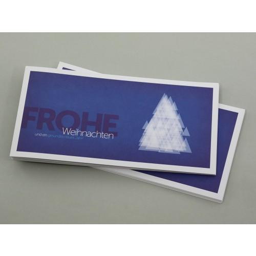 Weihnachtskarte blau moderner Weihnachtsbaum | eco-cards