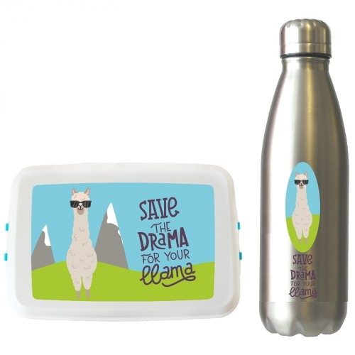 Lama Reise-Set: Trinkflasche & Lunchbox