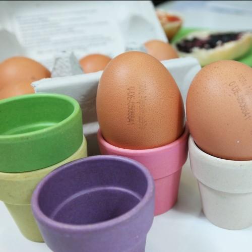 "Eierbecher und Eierlöffel ""Egg Heads"" im 6er-Set | zuperzozial"