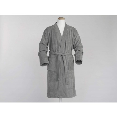 Bademantel Frottee/Velours Steel Grey Herren