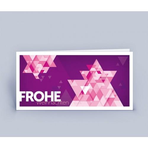 Öko Weihnachtskarte Ster lila, DIN lang | eco-cards-shop