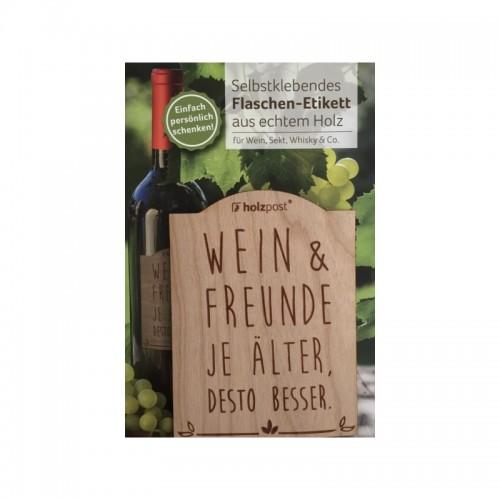 Holz Flaschen-Etikett Wein & Freunde