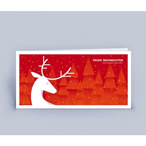 Öko Weihnachtskarte rot mit Hirsch   eco-cards-shop
