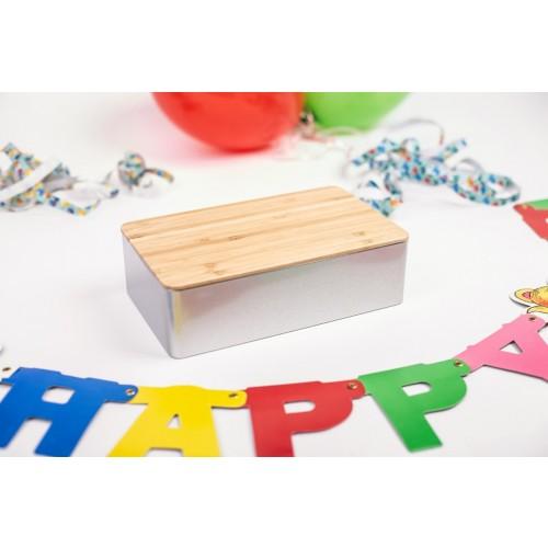 Geschenkdose aus Weißblech mit Bambusdeckel | Tindobo