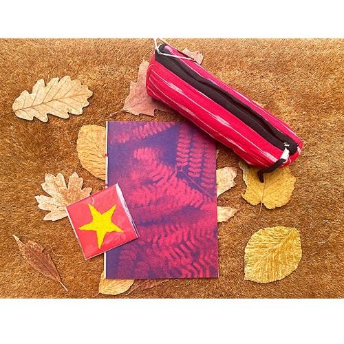 Öko Geschenkset Stifte-Etui IKAT & Notizbuch Spray Print | Sundara Paper Art