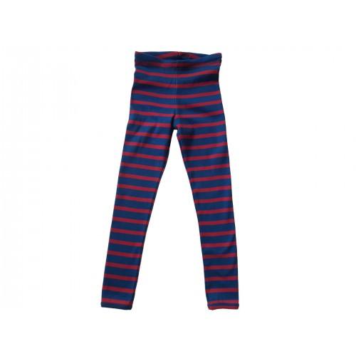Unisex Bio Feinripp Kinder Leggings, rot-blau gestreift | Ulalü