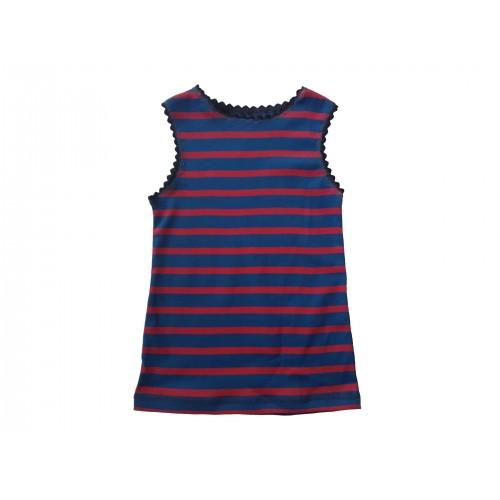 Rot-Blau gestreift Bio Unterhemd & Kinder Top | Ulalü