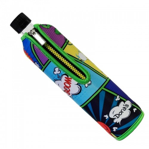 Dora's Glas Mehrwegflasche mit Neoprenbezug »Comic Superheld«