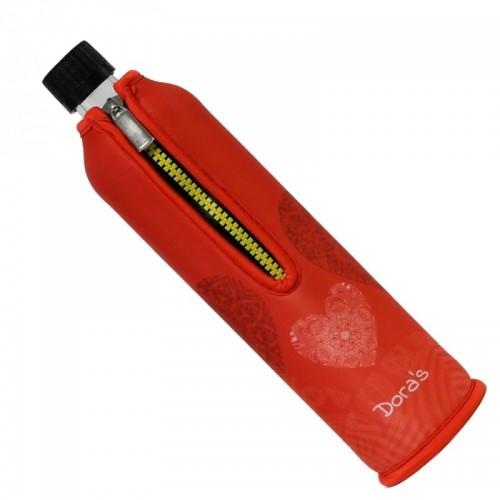 Dora's Glas Mehrwegflasche mit Neoprenhülle »Herzen«