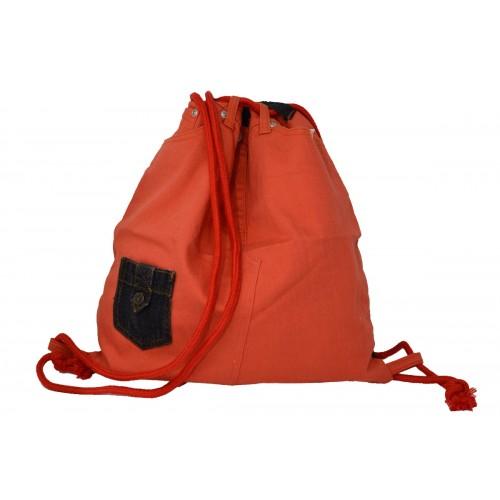 Turnbeutel Rucksack aus Jeans mit kleiner Tasche
