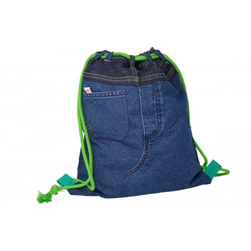 Gymbag aus Denim dunkel-blau mit Zusatz-Tasche - Second Hound