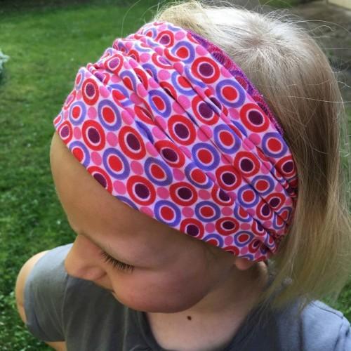 Rosarotes Haarband Bio-Jersey Kreise & Punkte | bingabonga
