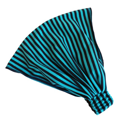 Gestreiftes Haarband Bio-Jersey Marine/Türkis | bingabonga